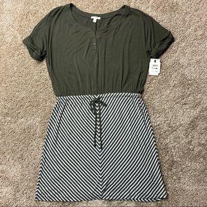 Caslon Green Striped Henley Drop Waist Dress M